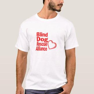 T-shirt vermelho do coração para cães cegos camiseta