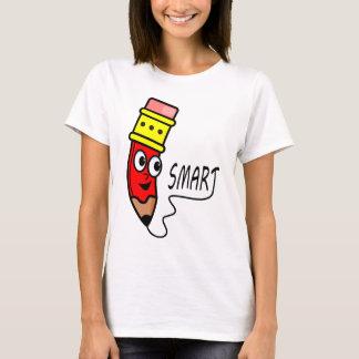 T-shirt vermelho do lápis dos desenhos animados camiseta