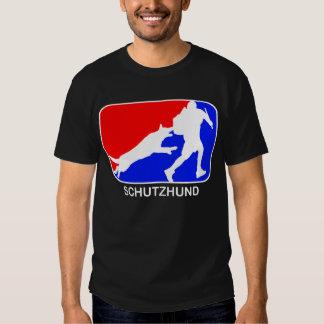 t-shirt vermelho e azul do schutzhund do logotipo