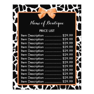 Tabela de preços alaranjada do boutique do arco do flyer 11.43 x 14.22cm