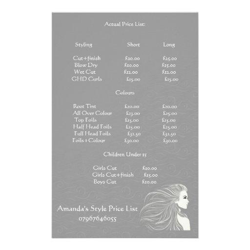 Tabela de preços cinzenta simples do cabeleireiro panfletos