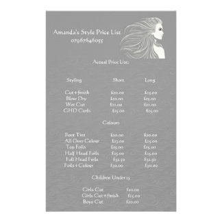 Tabela de preços cinzenta simples do cabeleireiro panfleto