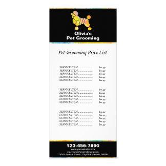 Tabela de preços colorida da preparação do animal 10.16 x 22.86cm panfleto