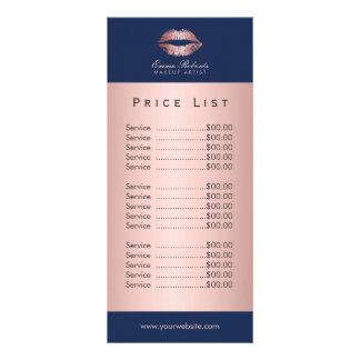 Tabela de preços cor-de-rosa dos azuis marinhos 10.16 x 22.86cm panfleto