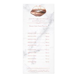 Tabela de preços cor-de-rosa dos lábios do ouro do 10.16 x 22.86cm panfleto