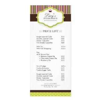 Tabela de preços da padaria panfleto informativo