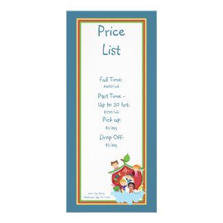 Tabela de preços da puericultura da arca 10.16 x 22.86cm panfleto