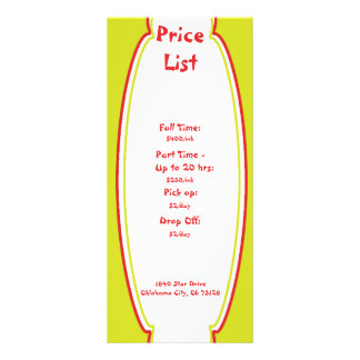 Tabela de preços da puericultura da luz do sol 10.16 x 22.86cm panfleto