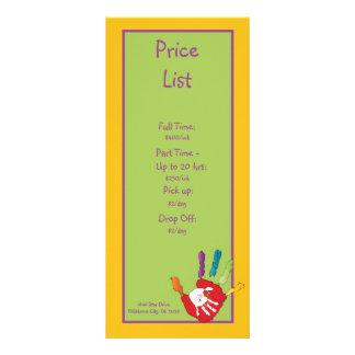 Tabela de preços da puericultura da mão amiga 10.16 x 22.86cm panfleto