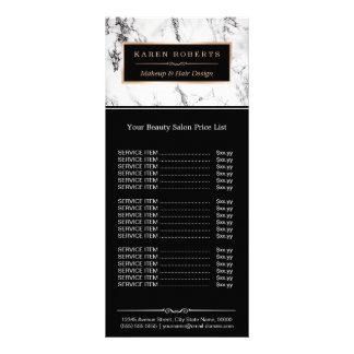Tabela de preços de mármore branca moderna do 10.16 x 22.86cm panfleto