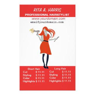 Tabela de preços do cabeleireiro do Hairstylist do Flyer 13.97 X 21.59cm