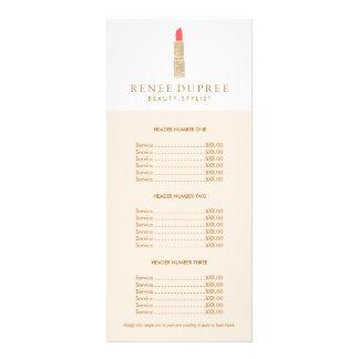 Tabela de preços do maquilhador do logotipo do 10.16 x 22.86cm panfleto