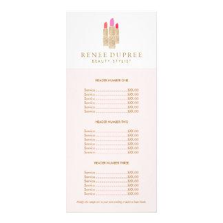 Tabela de preços do rosa do maquilhador do 10.16 x 22.86cm panfleto
