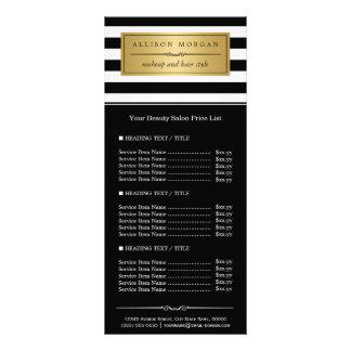 Tabela de preços dourada da etiqueta das listras 10.16 x 22.86cm panfleto