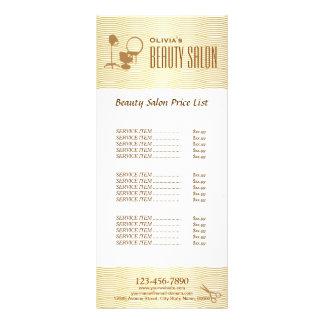 Tabela de preços dourada do salão de beleza da 10.16 x 22.86cm panfleto