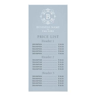 Tabela de preços elegante do monograma do azul panfleto