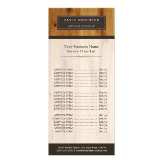 Tabela de preços elegante profissional da grão de 10.16 x 22.86cm panfleto