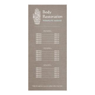 Tabela de preços espiritual da mão 3 de Lotus do 10.16 X 22.86cm Panfleto
