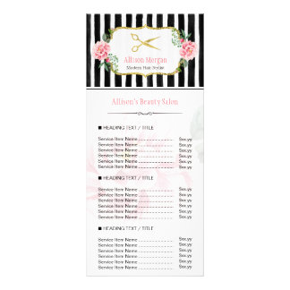 Tabela de preços floral cor-de-rosa do 10.16 x 22.86cm panfleto