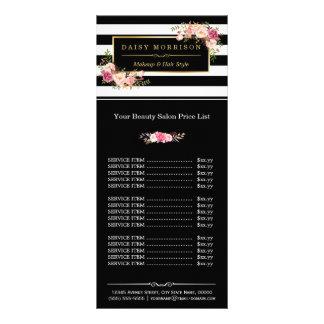 Tabela de preços floral das listras do ouro do 10.16 x 22.86cm panfleto