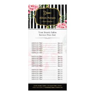 Tabela de preços floral do rosa do cabeleireiro do 10.16 x 22.86cm panfleto