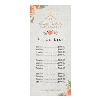 Tabela de preços floral do vintage do cabeleireiro 10.16 x 22.86cm panfleto