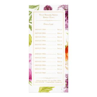 Tabela de preços floral elegante dos TERMAS do 10.16 X 22.86cm Panfleto