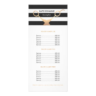 Tabela de preços listrada preto e branco do salão 10.16 x 22.86cm panfleto