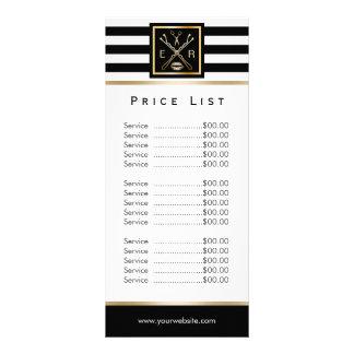 Tabela de preços moderna das listras do logotipo 10.16 x 22.86cm panfleto