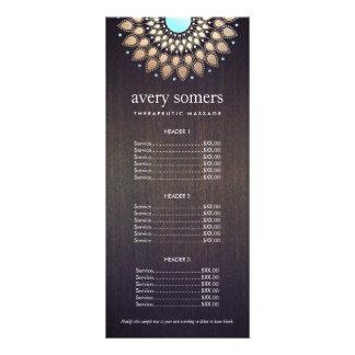 Tabela de preços ornamentado da madeira da mandala 10.16 x 22.86cm panfleto