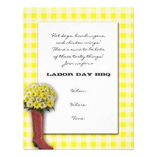Tablecloth amarelo e branco com buquê da bota convite