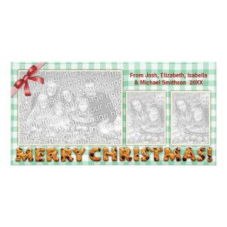 Tablecloth da xadrez dos biscoitos do Feliz Natal Cartão Com Foto