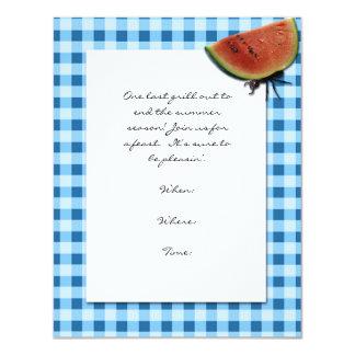 Tablecloth e formiga azuis e brancos com melancia convite personalizados