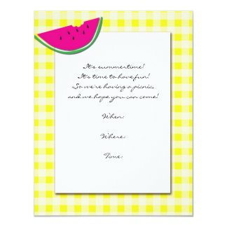 Tablecloth e melancia amarelos e brancos convites personalizados
