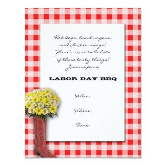 Tablecloth vermelho e branco com buquê da bota convite 10.79 x 13.97cm