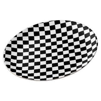 Tabuleiro de damas branco preto do diamante pratos de porcelana