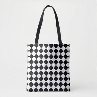 Tabuleiro de damas preto e branco bolsa tote