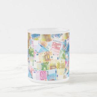 Taça de banqueiro com notas de banco caneca de café vidro jateado