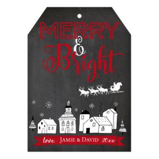 Tag alegre e brilhante do cartão de Natal do