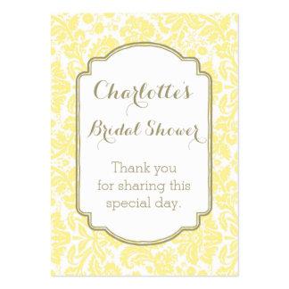 Tag amarelos do favor do chá de panela do damasco cartão de visita grande