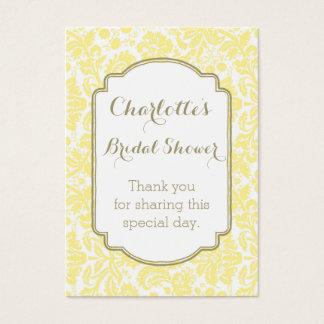 Tag amarelos do favor do chá de panela do damasco cartão de visitas