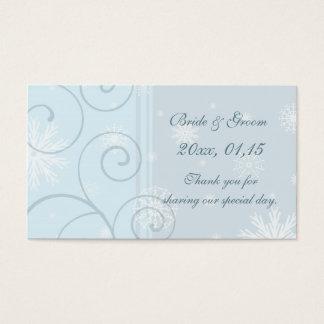 Tag azuis do favor do casamento no inverno dos cartão de visitas