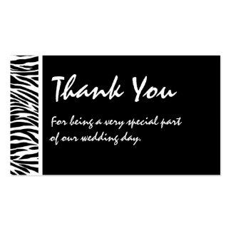 Tag branco preto do favor do casamento da zebra cartões de visita