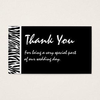 Tag branco preto do favor do casamento da zebra cartão de visitas