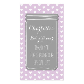 Tag cinzentos roxos do favor do chá de fraldas do modelo cartao de visita