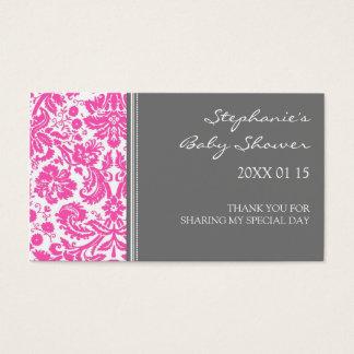Tag cor-de-rosa cinzentos do favor do chá de cartão de visitas
