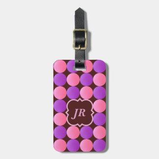 Tag cor-de-rosa da bagagem do monograma de Brown Etiqueta De Bagagem