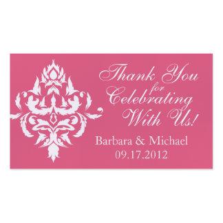 Tag cor-de-rosa do favor do casamento tema damasco cartão de visita