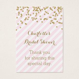 Tag cor-de-rosa do favor do chá de panela das cartão de visitas