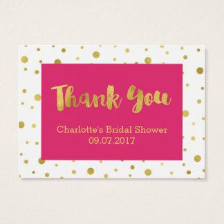 Tag cor-de-rosa do favor do chá de panela dos cartão de visitas